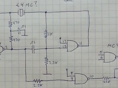 Crystal oscillator schematic, using MC857 DTL gate.