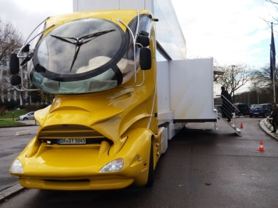 Designer truck loaded with high-tech demos roams Western Europe