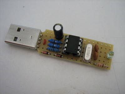 The USB Keyboard Stick can be easily built on a prototyping board.