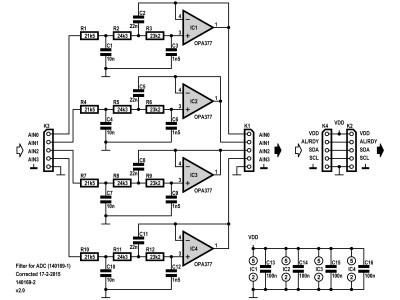 Schematic 140169-1 v2.0 of the filter for the practicle 4 channel ADC 1