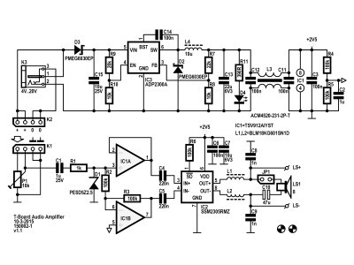 Schemaic of the T-Board Audio Amplifier (150002-1 v1.1)