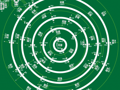 A fist idea of the PCB of the Circular Christmas Tree (top view)