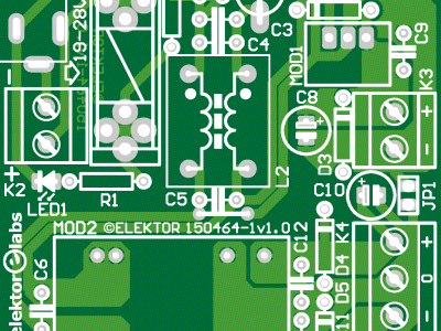 Topoverlay of the single sided PCB with copper bottom visible