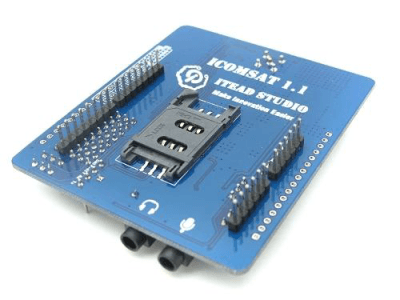 Image of bottom side of ICOMSAT 1.1 Arduino cell phone shield