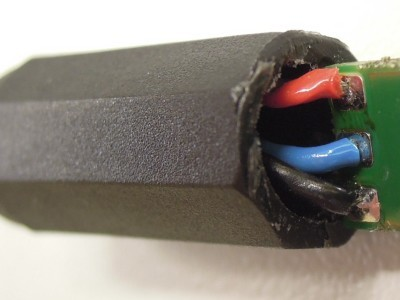 View on connections inside the microphone plug