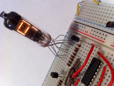 Test rig with the IV-9, a 74LS47 and the Arduino Nano being tested on a breadboard