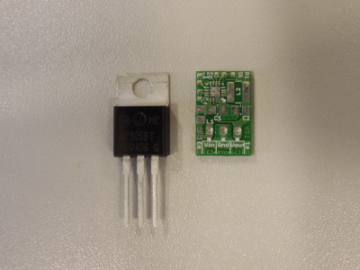 7805 compared to the bare PCB of the switched version.