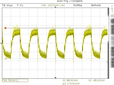 50KHz load step from 60 to 560mA, -17V in -5V out
