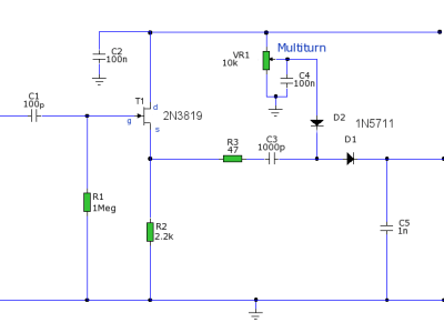 Circuit diagram for the Buffer Amplifier / Detector