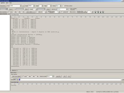 Screendump of HTerm: changing the calibration factor