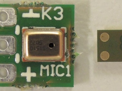 Top view on microphone PCB (150346-2 v1.0, new mic on its back next to it))