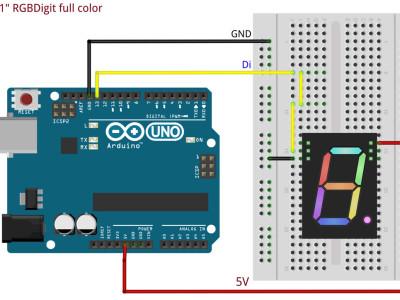 "RGBDigit 1""RGB 7Sement Digit Arduino and neopixel driven"