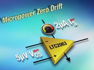 Zero-Drift-Opamp zieht nur 1,3 μA bei 1,8 V