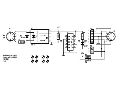 Schematic of Midi Analyzer Light 150169-1 v1.0