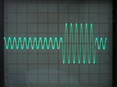 Oscillogram of audio burst