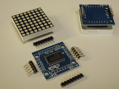 On the left side the semi-kit, top right the assembled display unit