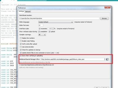 Arduino IDE configuration: adding the ESP8266 boards