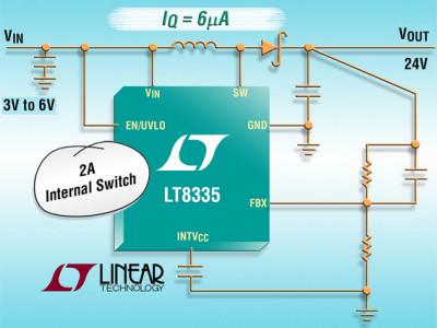 LT8335 : Convertisseur DC/DC élévateur / SEPIC / inverseur, 28 V, 2 A, 2 MHz, IQ = 6 µA