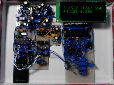RNG4 with spectral analyzer connected, for adjustment of  analog filter