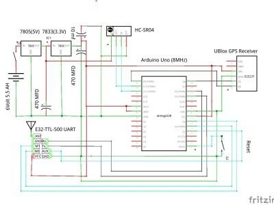 LoRa sender - works for 55 hours on a 6 volt 5.5 AH Led-acid battery.