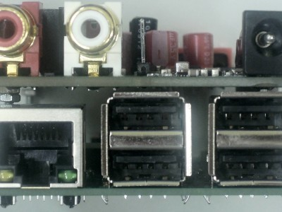Side view on connectors of prototype of Audio DAC for RPi (160198-1 v1.0)