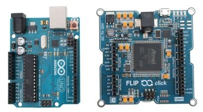 Arduino Uno R3 next to Flip & click board