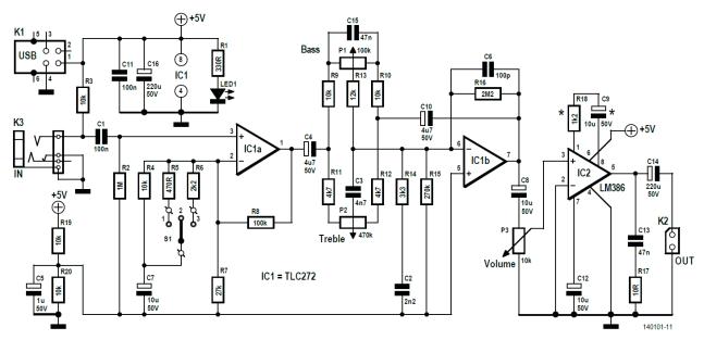 Schematic of the KaraOkay mic amp