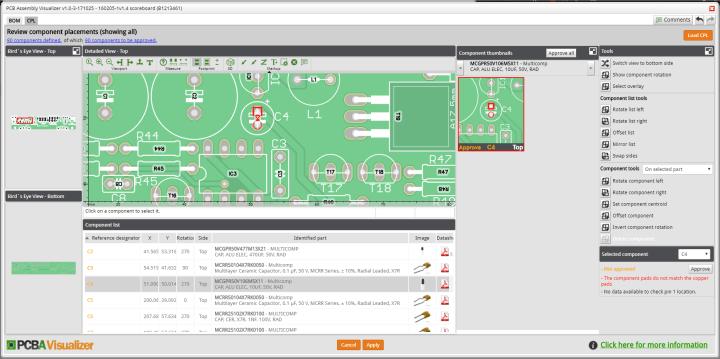 PCBA Visualizer CPL Editor
