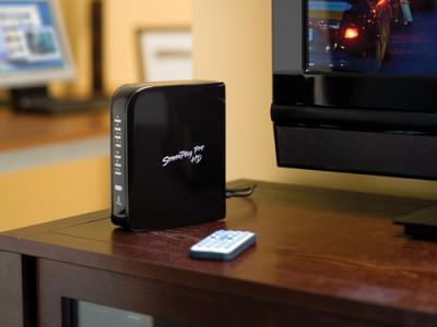 Een mediagateway slaat de brug tussen een computer en het televisiescherm in de woonkamer.