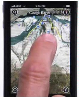 Google Earth toont aarde op iPhone