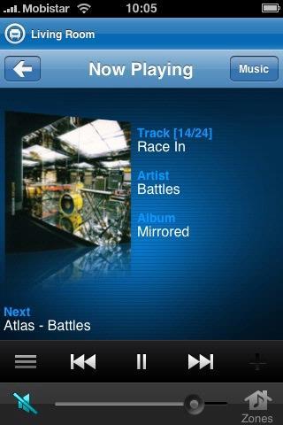 Indien aanwezig op de muziekserver, verschijnen albumhoezen bij het afspelen op de iPhone.