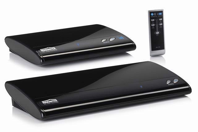 De Marmitek GigaVideo800 HDMI bestaat uit een zender, ontvanger en afstandsbediening.