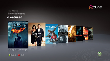 De Zune Video Marketplace streamt SD- en HD-films naar de Xbox 360.