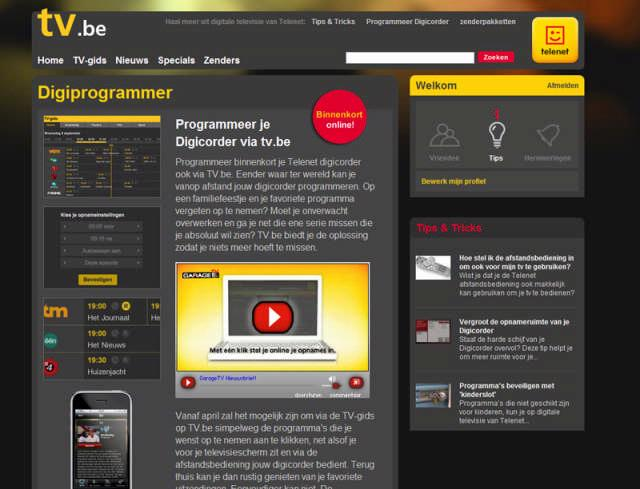 Met de website TV.be kunnen Telenet-televisieklanten hun digicorder programmeren.