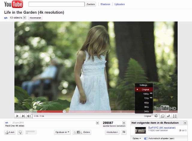 YouTube ondersteunt 4K-resolutie