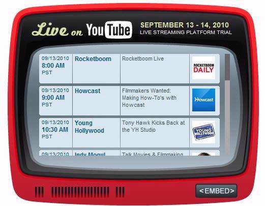 YouTube experimenteert deze week met het aanbieden van live-uitzendingen.