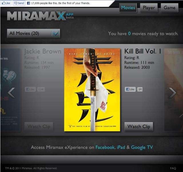Miramax Facebook app bezorgt je online toegang tot films