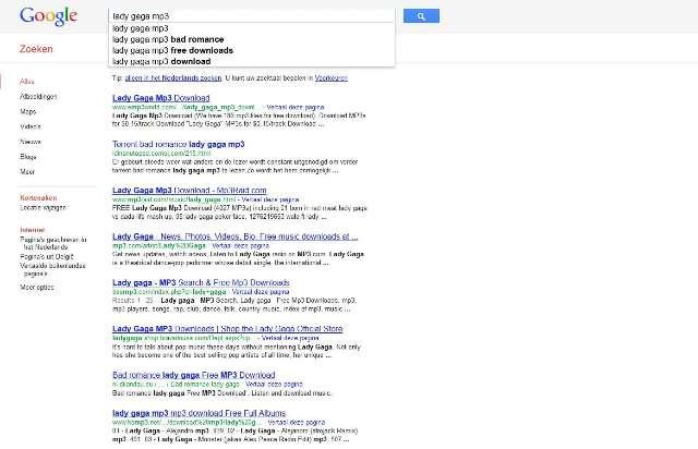 Muziekindustrie misnoegd over Google-zoekresultaten