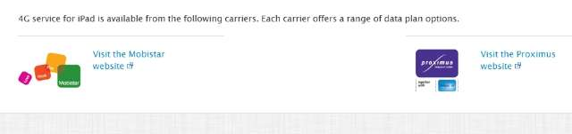 4G-iPad toch naar België? De website van Apple laat vermoeden van wel.