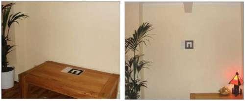 Plaats de marker waar je de televisie wenst, op stand of aan de muur.