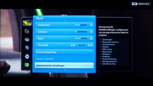 Advanced beeld menu